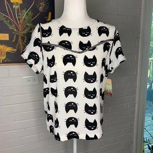 Lily white cat blouse medium